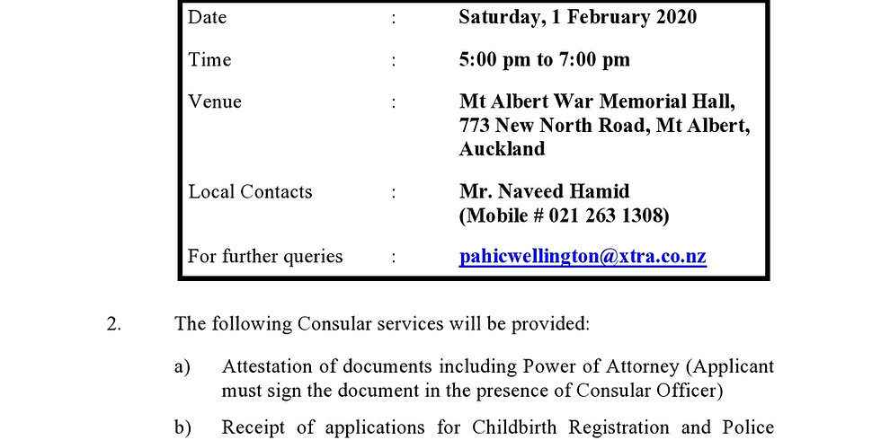 Consular Services Camp in Auckland (1 February 2020)