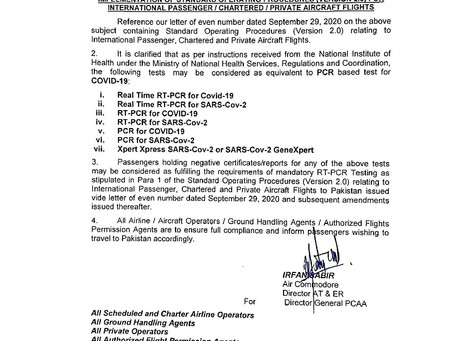 Instructions by Pakistan CAA - Equivalence of tests to PCR based test for COVID-19
