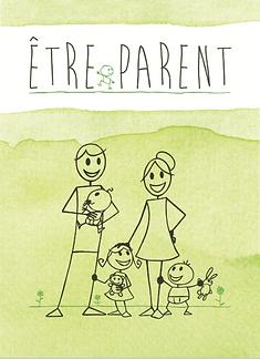 carte postale aquarelle verte en fond, famille, couple avec deux enfant, recto, titre etre parent