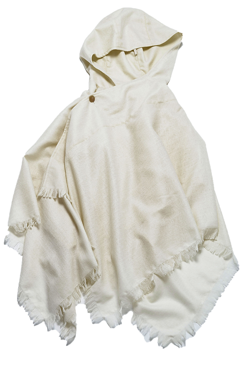 [Sample price]Square poncho white