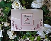 Flourish blush pink pocketfold wedding invitation