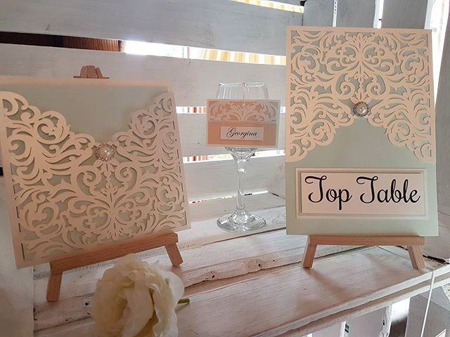 Laser cut wedding stationery, invitation matching hanging placecard and table name