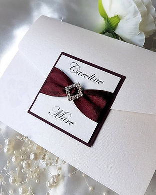 Classic ribbon and jewel pocketfold wedding invitation