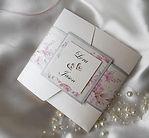 Floral pocketfold wedding invitation wit