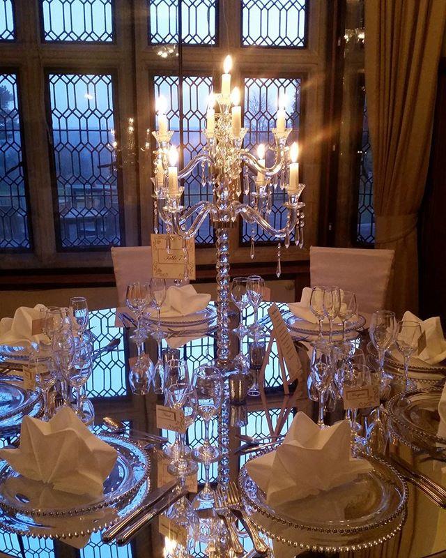 Classic wedding table set up with blush pink hanging handmade wedding stationery