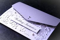Snowflake pocketfold wedding invitation