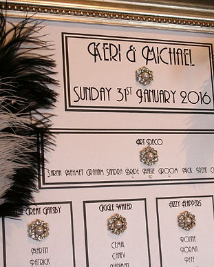 1920s Great Gatsby Theme Wedding Table Plan