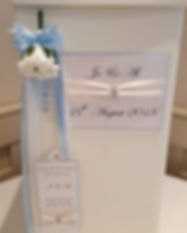 Classic wedding postbox with ribbon, diamante jewel and floral corsage