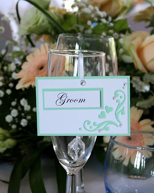 Flourish hanging placecard mint green