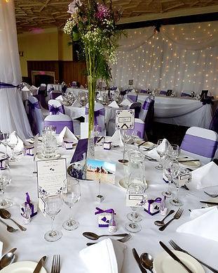 Wedding set up Cadbury purple at De Vere Selsdon Estate