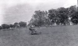 AJ Hansen and his homemade riding lawnmower