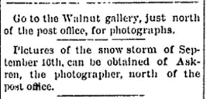 Sept 23, 1881 article in Walnut News