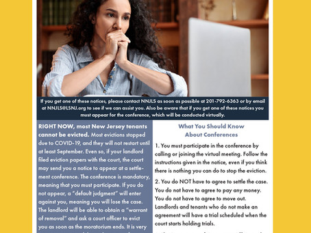 Important Notice to Tenants Regarding Mandatory Settlement Conferences