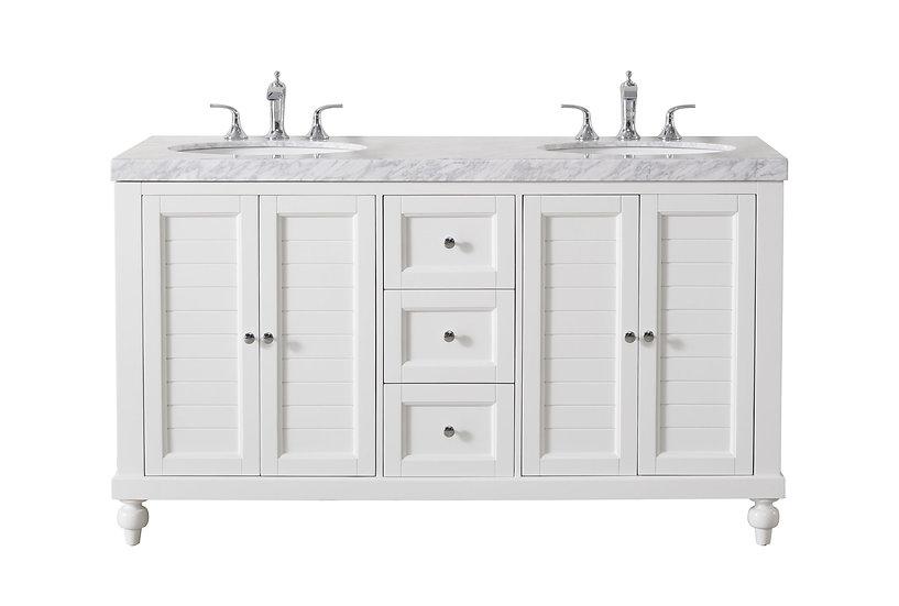"Kent 60"" White Double Sink Vanity"