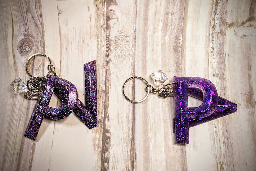 Matte or Sparkly PV Letter Keychain