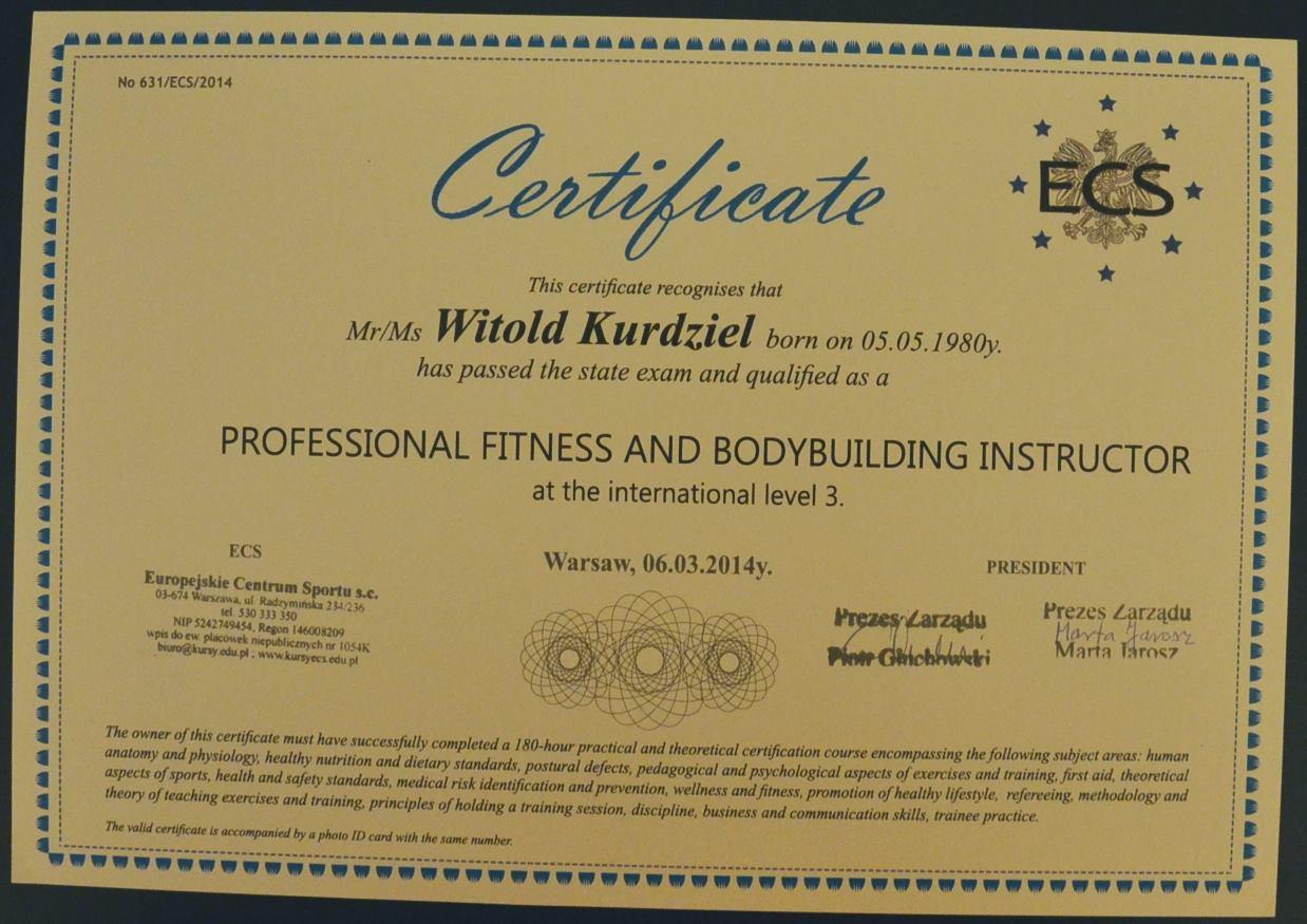 Certyfikat instruktora kulturystyki