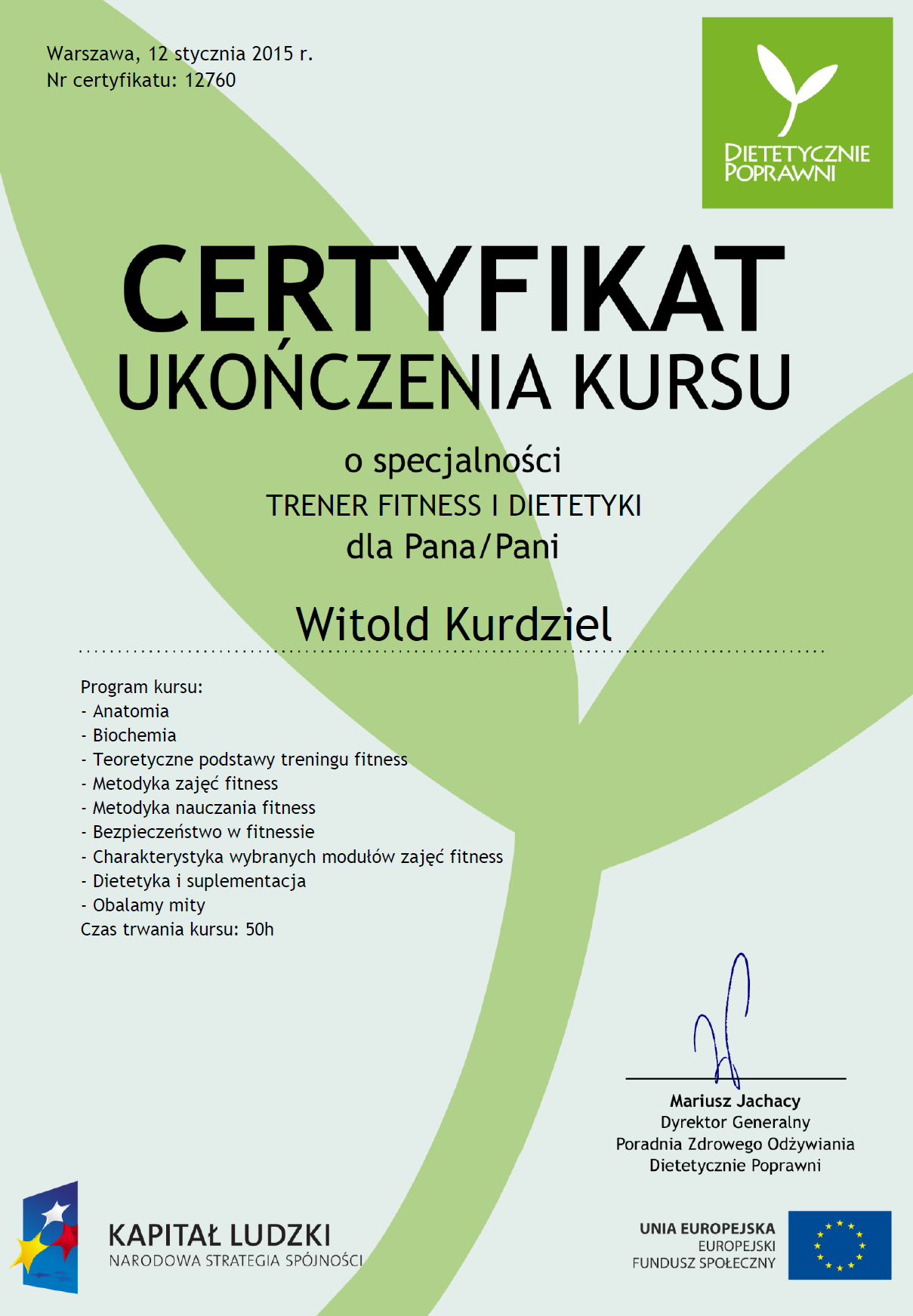 Certyfikat TRENER FITNESS