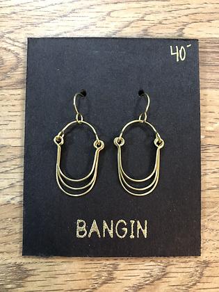 brass baby layer earrings