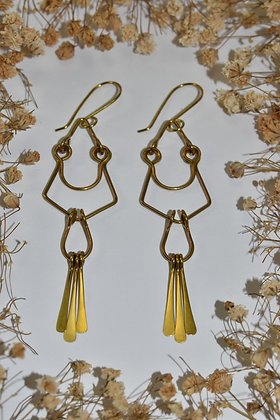 brass layered dangle earrings