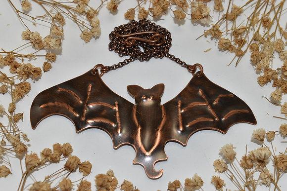 copper bat necklace