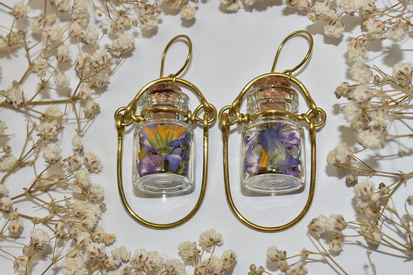 brass flower jar earrings