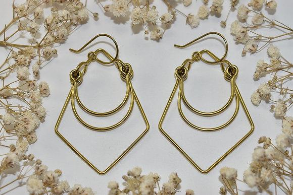 brass layer earrings