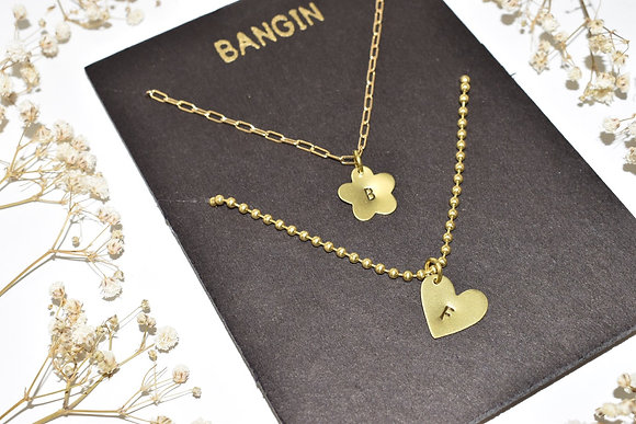 brass best friends necklace set