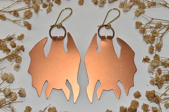 copper bat earrings