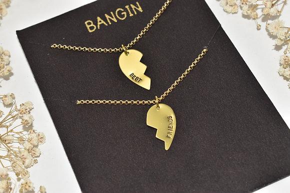 brass best friends necklace set