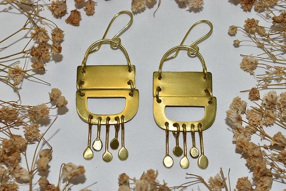 brass dangle dot earrings