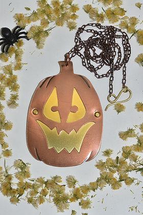 brass and copper jack o' lantern necklace