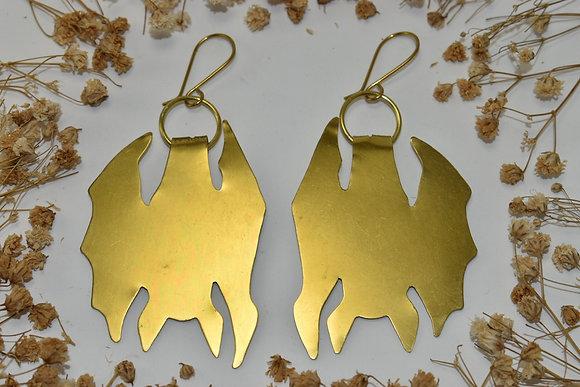 brass bat earrings
