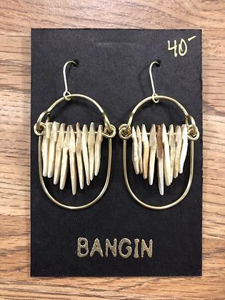 brass and bone layered earrings
