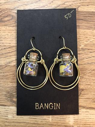 Pressed flower jar earrings
