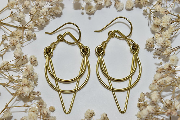 brass layered earrings
