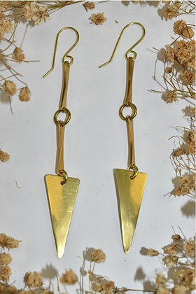 brass drop down earrings