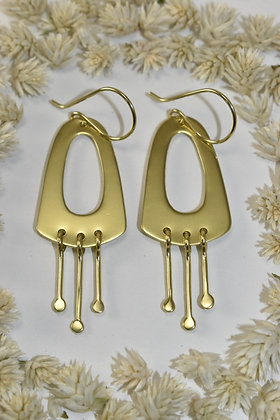 brass dangle dot earrings