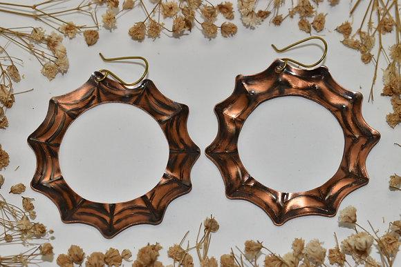 copper spiderweb hoops