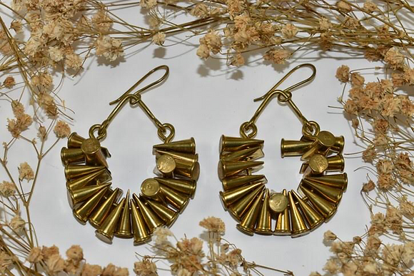 brass bullet hoop earrings