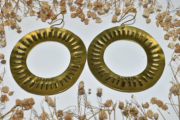 brass stamped hoop earrings