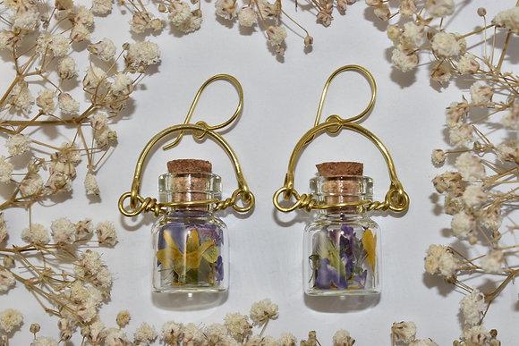 brass flower jar earrings