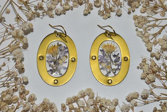 brass pressed flower earrings