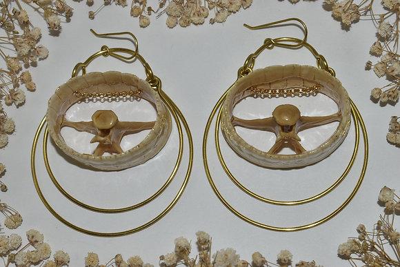 brass and bone layer earrings