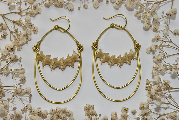 brass and bone layered earrings