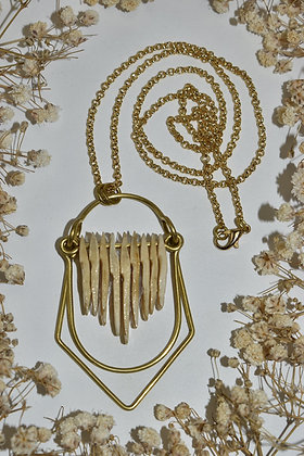 brass and bone layer necklace