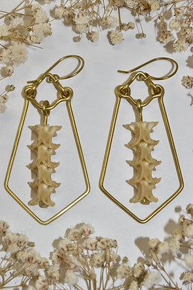 brass snake vertebrae earrings