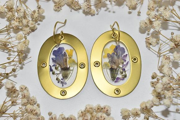 brass framed flower earrings