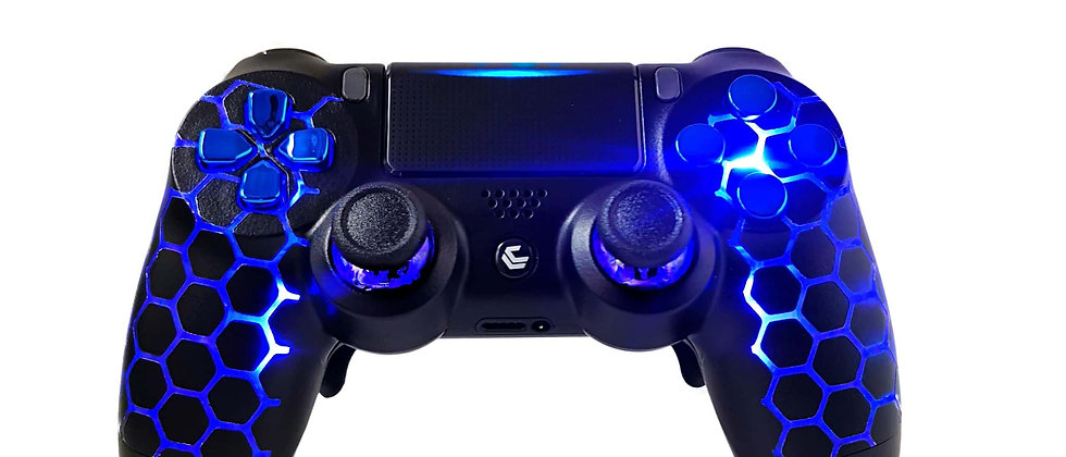 LuxController PS4 Custom LED Controller mit 2 Paddles, Honeycomb Design