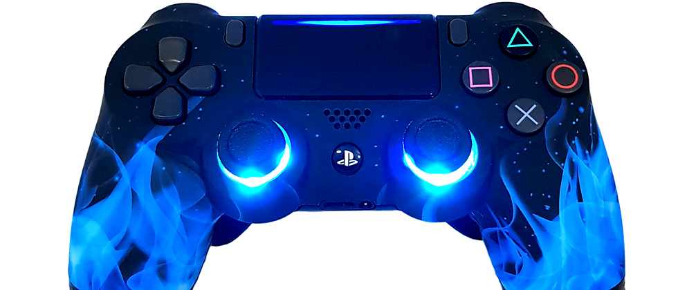 LuxController PS4 Custom LED Controller mit 2 Paddles, Blau Flammen Design