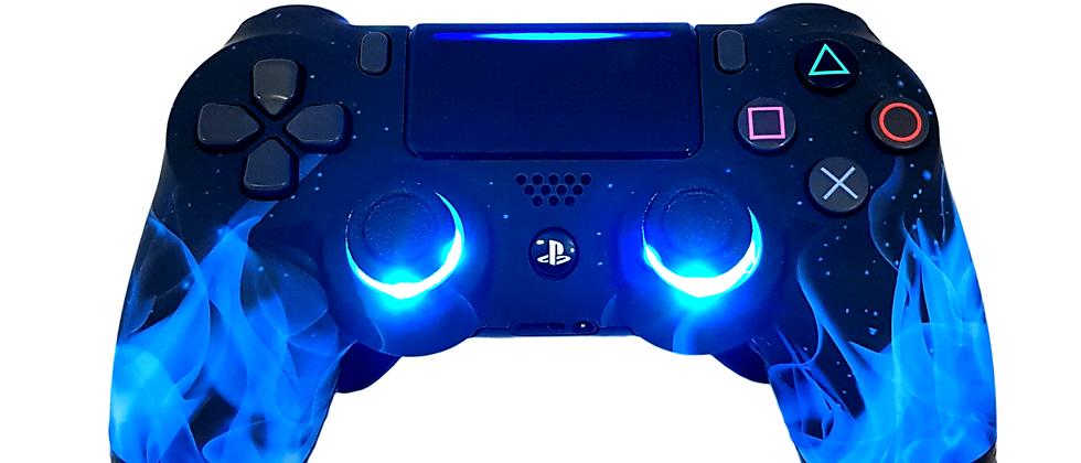 LuxController PS4 Custom LED Controller mit 2 Paddles, Blau Flammen Design
